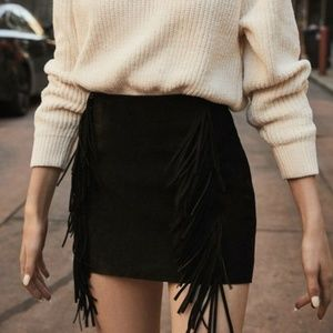Urban Outfitters Kim Fringe Suede Mini Skirt